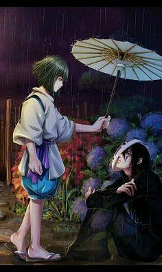 Chihiro / Spirited away amazing fanart of Haku and Ohngesicht Manga Anime, Film Manga, Anime Art, Totoro, Art Studio Ghibli, Studio Ghibli Movies, Hayao Miyazaki, I Love Anime, Awesome Anime