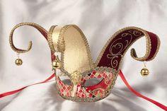 Masquerade Masks - Venetian Masks - Jesters - JESTER MOSAIC GOLD