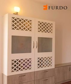 White Intricate Puja Cabinet/Small Mandir/Hindu home temple designed by Furdo Small Space Bedroom, Small Spaces, Small Shelving Unit, White Wood Bedroom Furniture, Wood Paneling Decor, Wardrobe Storage, Shoe Storage, Storage Ideas, Mandir Design