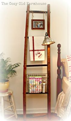 Bedroom ideas - ladder, basket, lamp, stool
