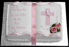 Image detail for -First Holy Communion Cake with Hand Painted Silver Message and .Communion, pretty border again!Like image for future cake (book) decoration Christening Cake Designs, Christening Cakes, Bautizo Cakes, Comunion Cakes, Cake Paris, Bible Cake, First Holy Communion Cake, Cross Cakes, Religious Cakes