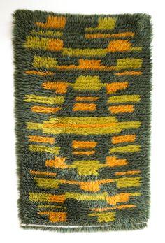 Danish Modern Handwoven Wool Rya Rug Mid Century by Wohnstadt