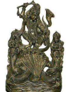 """Lord Krishna on Kaliya Serpent Hindu God Brass Sculpture Krishna Statue 12"""" by Mogul Interior, http://www.amazon.com/gp/product/B0041AADY8/ref=cm_sw_r_pi_alp_dx3wqb1N77E02"""