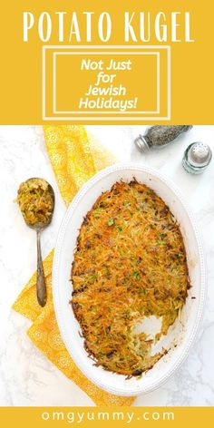 This crispy potato kugel is perfect for Passover or any time of the year when a comforting potato side dish is just the right thing. It's traditionally savory with caramelized onions and also lightened up with carrots, parsley, and some dried herbs. Make it gluten-free by using gluten-free matzo meal. Wonderful side dish with almost any protein and great with eggs in the morning! #potatoes #kugel #potatokugel #passover #passoverseder #passoverkugel Potato Sides, Potato Side Dishes, Passover Recipes, Jewish Recipes, What Is Potato, Potato Kugel Recipe, Seder Meal, Best Potato Recipes, Canned Potatoes