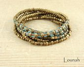 Bracelet à rangs perles de rocaille bronze et turquoise : Bracelet par lounah-bijoux