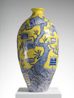 The Rosetta Vase, Grayson Perry, glazed ceramic © Grayson Perry, courtesy the Artist and Victoria Miro Gallery, London Grayson Perry, Art Courses, 3d Artwork, Pottery Art, Pottery Painting, Pottery Ideas, Ceramic Art, Ceramic Design, Glazed Ceramic