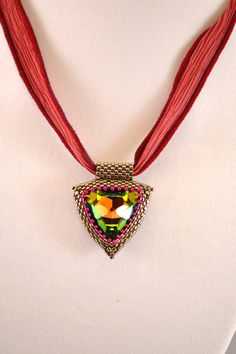 Beadwoven 23 MM Swarovski Vitrial Triangle with by CloesCloset