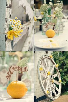 The daisies are fun and whimsical. Love the lemons, although little clementines might be more appropriate for your color scheme.
