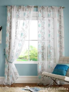 Tan D With Teal Curtains Blue Living Room