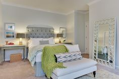 master... Love the floor mirror, tufted headboard, and bench
