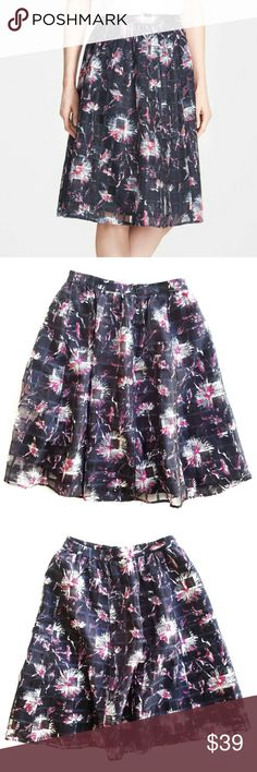 Halogen high waisted printed skirt, navy and pink Halogen high waisted navy and pink printed a-line skirt. Size 6. Like new condition!! Halogen Skirts A-Line or Full