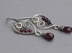 Want these! Sterling Silver Wire Wrapped Hearts with Garnet Drops