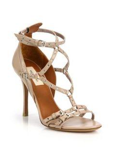 Valentino - Rockstud Leather Lace-Up Gladiator Sandals