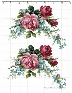 Romantic Vintage Style Red Pink Rose Spray waterslide water slide Decals De-Ro-92. $9.99, via Etsy.