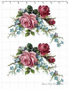 Romantic Vintage Style Red Pink Rose Spray waterslide water slide Decals De-Ro-92. $9.99, via Etsy.
