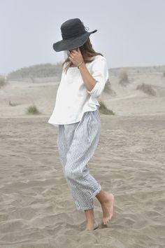 BLOG VDJ | loose striped pants, loose white top, hat || @sommerswim