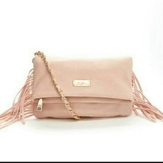 """NWT BCBG Shoulder Bag Peach/ somon color, faux leather, gold tone hardware, studded fringe details on sides, zip compartment at top of flap, double magnetic closure slip compartment when folded over, when folded 11"""" x 1.5"""" x 7"""" , 17"""" drop chain strap ♥ BCBG Bags Shoulder Bags"""