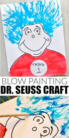 This Thing 1 and Things 2 Blow Painting Dr. Seuss Craft is a perfect Dr. Seuss kids craft for The Cat in the Hat and Read Across America Day. Dr. Seuss, Dr Seuss Art, Dr Seuss Crafts, Dr Seuss Week, Preschool Crafts, Spring Art Projects, Projects For Kids, Crafts For Kids, Hat Crafts