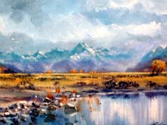 """This painting is at Crossroads Gallery at present its called Approaching Storm Mt Cook . An oil by Aston Greathead ( sadly """"the late"""")"""