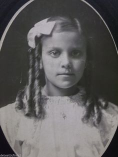 Pretty Girl-Long Ringlet Curls-Fashion-Ruffles-Bow-Antique Cabinet Photo-Erie,PA