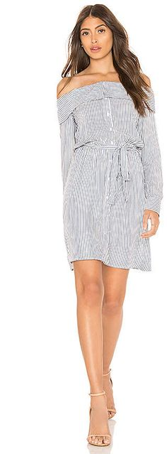 Bardot Sienna Shirt Dress striped off shoulder button up long sleeve summer casual Day Dresses, Cute Dresses, Dresses For Work, Dress Outfits, Casual Summer Dresses, Dress Casual, Dress Summer, White Dresses For Women, Affordable Clothes