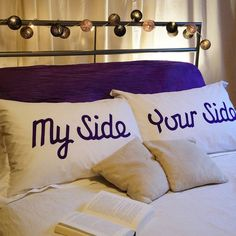 Perfect for any bed, no matter what the sleeping arrangements are!    Set of 'My Side' and 'Your Side' 100% cotton oxford pillowcases. standard size: 75cm x 50cm from NotOnHighStreet $50.00    Machine washable at 40 degrees. Wash inside out. Iron on reverse.
