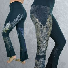 """""""Realta"""" Bamboo Yoga Pants by Inkspoon. Organic clothing hand-printed with designs inspired by Celtic mythology, celtic knot-work, wings, feathers, bird magic, oak leaves, celtic star"""