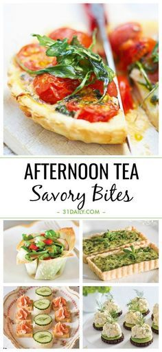 An afternoon tea isn't complete without a selection of savory bites. These are delicious, easy, and beautiful. Easy Afternoon Tea Savory Bites: Recipes and Ideas | 31Daily.com #afternoontea #appetizers #partyfood #tearecipes #fingerfood #31Daily