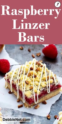 These pretty Raspberry Linzer Bars are the perfect dessert for any occasion. Beautiful and delicious! | DebbieNet.com
