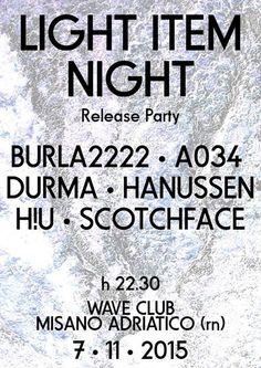 Sabato 7 novembre 2015 arriva la serata elettronica tutta dal vivo al Wave Misano con Durma, Burla2222, A034, Hanussen, Scotchface e H!u.