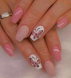 nails - 37 Cute Butterfly Nail Art Designs Ideas You Should Try fashionetmag com Best Nail Art Designs, Nail Designs Spring, Acrylic Nail Designs, Acrylic Nails, Shellac Nails, Butterfly Nail Designs, Butterfly Nail Art, Butterfly Colors, Butterfly Pattern