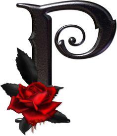 Abecedario gótico adornado con rosas. Letra P mayúscula.