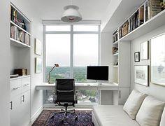 Um sofá, armários e prateleiras são ótimos se vc tiver espaço para isso. Se precisar que o escritório também funcione como um quarto extra um sofá cama é perfeito. As prateleiras e armários podem ser bem funcionais, mesmo estreitos. Mas se o office for na sala?