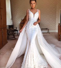 Get custom wedding gowns for an affordable price. We have a large variety of designer wedding dresses available for you. Plus size bridal is also an option. Western Wedding Dresses, Elegant Wedding Dress, Dream Wedding Dresses, Designer Wedding Dresses, Bridal Dresses, Wedding Gowns, Bridesmaid Dresses, Wedding Dresses Detachable Skirt, 2 In 1 Wedding Dress