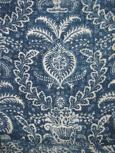 Antique French 18th century Indigo Blue resist quilt ~