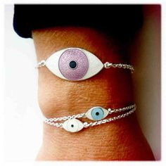 Camilla Prytz Shop — MINI THIRD EYE BRACELET from THE ENAMELLIST BY CAMILLA PRYTZ Third Eye, Camilla, Sterling Silver Chains, Crochet Earrings, Sparkle, Hand Painted, Small Things, My Style, Mini