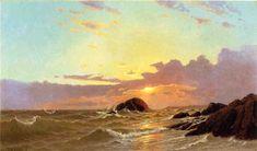 Au large de Newport, Rhode Island, huile sur toile de Francis A Silva (1835-1886, United States)