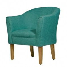Fabric Upholstered Wooden Accent Chair with Curved Back Blue/Brown - Benzara, Adult Unisex, Brown Blue Wingback Accent Chair, Upholstered Accent Chairs, Teal Accent Chair, Chair Upholstery, Swivel Chair, Chair Cushions, Tub Chair, White Dining Chairs, Wicker Chairs