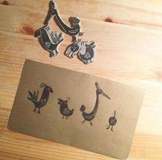 illustrator: Stina De Roeck linocut - linoprint - printing - birds - cute - illustration