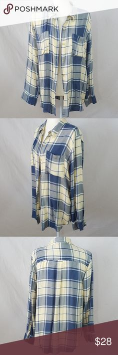 🆕 Abercombie & Fitch - Plaid Button Down NWOT.  Beautifully made super soft lightweight. Dusty blue and pale yellow. Long Sleeve. Button Down. Breast Pocket. Length 28 inches. Chest flat lay 20 inches. Abercrombie & Fitch Tops Button Down Shirts