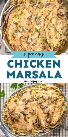 Chicken Marsala is the best 30 minute meal. It is so creamy and with my simple tips it is much easier than the traditional dish. This is a great one pan chicken dinner! Brunch Recipes, Healthy Dinner Recipes, Cooking Recipes, Easy Recipes, Pasta Dishes, Food Dishes, Main Dishes, Easy Family Meals, Family Recipes