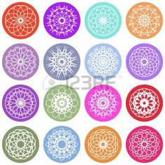 Round color ornament set. Vector spirographs