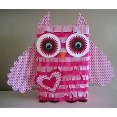 Owl Pinata~Yes! Now I know how we are decorating Felicia's Valentine box for school! Kinder Valentines, Valentines Day Birthday, Valentine Day Boxes, Homemade Valentines, Valentine Day Crafts, Be My Valentine, Holiday Crafts, Holiday Fun, Valentine Ideas