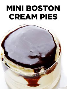 When is a pie not a pie? When it's little cakes, as in these delicious mini Boston Cream Pies. Like the classic dessert, moist vanilla cake is layered with a creamy pudding filling and topped with a smooth chocolate ganache. #BiteMeMore #recipes