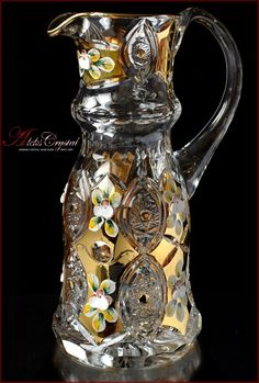 """Сarafe for water PbO """"Saherezada"""" Gold Bohemia Crystal, Bohemia Glass, Bone China Dinnerware, Glass Painting Designs, Punch Bowl Set, Crystal Decanter, Glass Collection, Gold Paint, Flower Vases"""