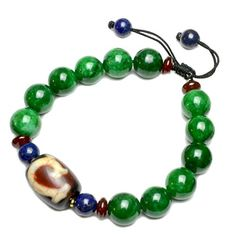 Green Tara Dzi Bead Protective Amulet Bracelet Fortune Feng Shui Jewelry ** For more information, visit image link. (This is an affiliate link) Green Tara, Jade Green, Link Bracelets, Beaded Bracelets, Necklaces, Feng Shui Jewellery, Jewelry Supplies, Buddha, Image Link