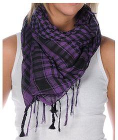 purple & black plaid, with braided fringe scarf.