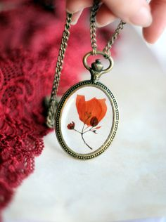 Pendant necklace with dried bougainvillea flower herbarium botanical jewelry vintage clock shape orange real flower resin flowers jewelry