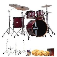 ddrum REFLEXRSL5PCWRS Reflex RSL Wine Red Satin 5Pc Shells wCymbals Hardware Survival Guide  Drumsticks >>> Find out more about the great product at the image link.Note:It is affiliate link to Amazon.