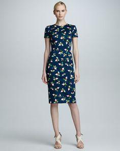 Radish-Print Short-Sleeve Sheath Dress, Navy by Carolina Herrera at Neiman Marcus.  (Navy- Yuck- just like the radish print)